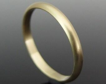 18k Gold Wedding Ring, Half Round 18k Gold Wedding Band, 18k Gold Wedding Ring, 18k Gold Ring, Satin Finish
