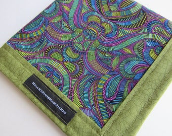 EDC Hank Psychedelic Purple Green and Blue Handmade Hank Everyday Carry Pocket Dump Hank Mens Handkerchief Gift for Him Gift for Her