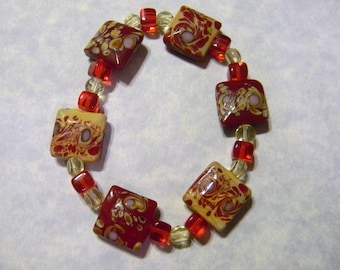 Red and Yellow Art Glass and Crystal Stretch Bracelet