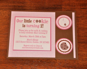 Milk and Cookies. Invitation. Milk and Cookies Invite. Set of 6. Choose boy or girl. Cookie.