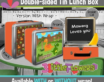 Personalized Dinousaurs Lunchbox - Personalized Metal Lunch Box Chalkboard inside - Double-sided Tin Lunch Box - Personalized Dino Lunch Box