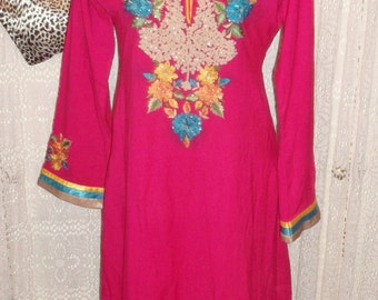 Pink Vintage Indian Tunic top.calf length,side splits, embroidered yellow detail