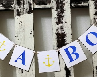 It's A Boy Banner Nautical Garland With Yellow Anchors Banner Blue Nursery Garland Boy Baby Shower Banner