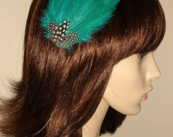 Jade Green Feather Fascinator HAIR CLIP Bridesmaids Hair Accessory Handmade Wedding 'Gwenand#039;