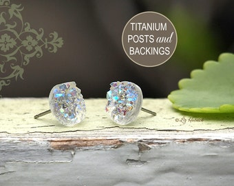 Clear Glitter Druzie on Titanium Posts, 10mm Ice Glitter Earrings, Faux Druzy Stud Earrings