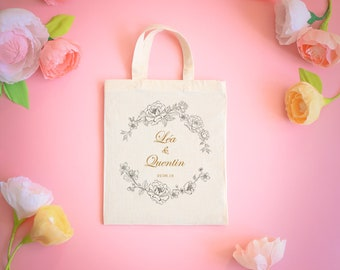 Small tote bag personalized wedding - 4 designs to choose from