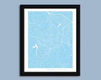 Chapel Hill map, Chapel Hill city art map, Chapel Hill wall art poster, Chapel Hill decorative map