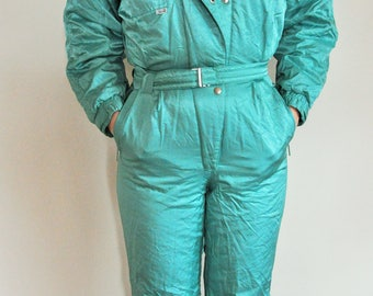 Vintage One Piece Skiing Suit / Ski / Suit / Blue / Jacket / 38 Medium / m / Onepiece / Skiing / Overall / Costume  / Aqua / Mint / Jumpsuit