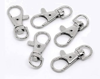 set of 10 lobster swivel clasp key chain rings, 37mm x 16mm