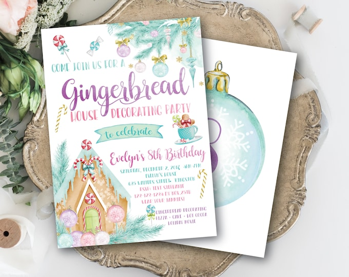Gingerbread House Decorating Birthday Invitation / Gingerbread Party / Winter / Any Age / Pastel / Watercolor - CANDY CANE FOREST