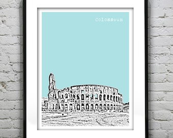 Rome Italy Skyline Art Print Poster A4 Size Colosseum