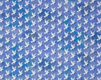 Windham Fabric Faith Doves Blue Religious Cotton Fabric - 1 Yard