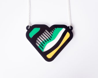 Lichtenstein Pop Art inspired Acrylic Laser Cut Heart Necklace. Green Heart Necklace. Benday Dots Acrylic Laser Cut Bib. Statement Necklace