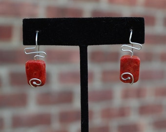 Red Square Coral Stone Swirl Earrings