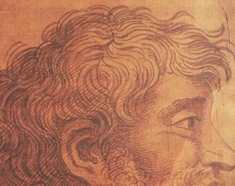17thc Nicholas Dorigny Antique portrait 1684 head study sanguine drawing antique bearded man