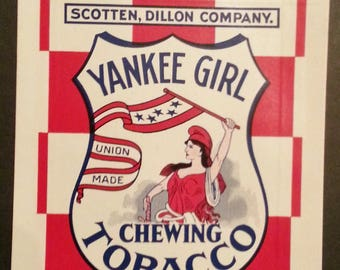 Vintage YANKEE GIRL Chewing Tobacco Unused Bag - Large Size 3 OZ. New Old Stock Warehouse Find