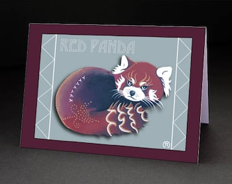"Red Panda 4.25"" x 6"" Blank Greeting Card"