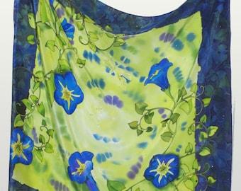"Hand painted silk scarf ""Night stories"""",  silk scarf, green handkerchief, flowers of bindweed, square silk scarf"