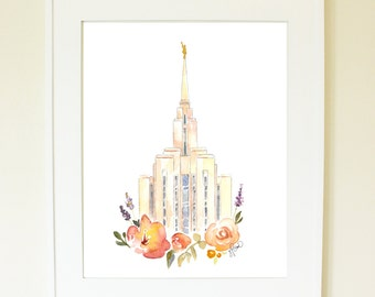 Oquirrh Mountain LDS Temple, Watercolor Print
