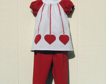 Hearts on a String Peasant Top and Pants Valentine Set Size 6 Months