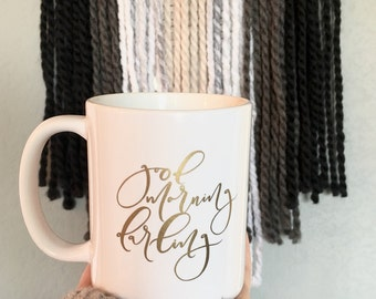 Gold Foil Calligraphy Coffee Mug