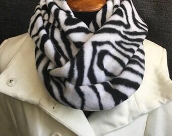 Zebra Scarf, Winter Scarf, Warm Scarf, Fleece Scarf, Animal Print Scarf, Fabric Scarf, Black White Scarf, Infinity Scarf, Mother's Day Gift