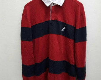 Vintage Nautica Polo Tee Shirts long sleeve striped Rugby