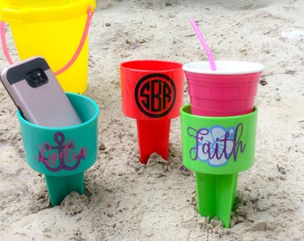 Personalized Beach Spiker, Cup Holder, Beach Cup, Vacation Gift,