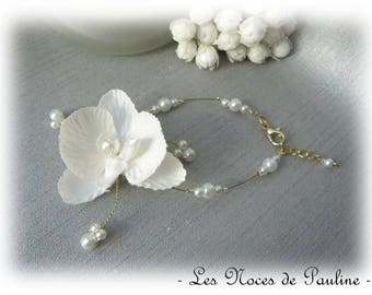 Wedding ivory and gold orchid Butterfly Esther bracelet