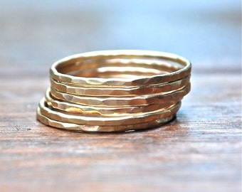 10k Gold Stack Rings The Skinny Stack set of 6