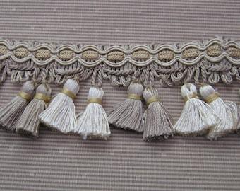 Tassel Fringe, Taupe with Ivory