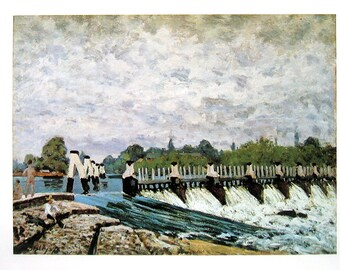 Molesey Weir - Morning - Alfred Sisley - Fine Art Print - Reproduction Print form 1979 Vintage Book - 12 x 9