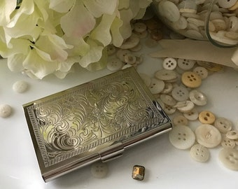 Beautiful Nickle Plated Engraved Victorian style business card case by Nouveau Bella