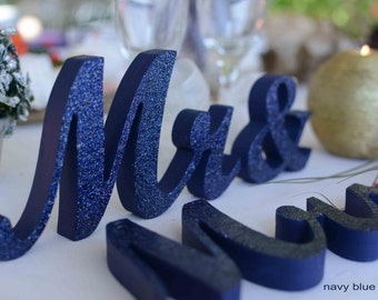 Glitter Mr & Mrs wedding table decoration, freestanding Mr and Mrs signs for sweetheart table