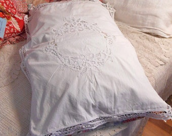 Dainty BATTENBERG LACE PILLOWCASE, Large Center Oval Design, Looped Openwork, Girlie Cottage Linen or Dress, White Cotton Back Slip Opening