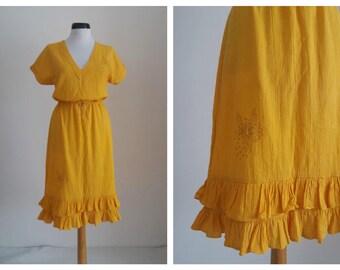 Vintage 1970s embroidered dress| 70s floral gauze dress | 1970s embroidered floral gauze dress | ruffles dress