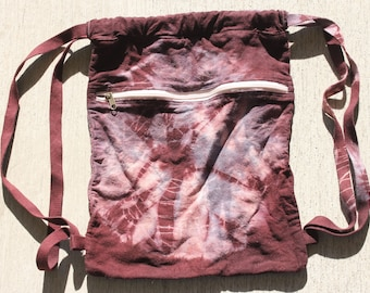 """16x14"""" 10oz canvas  cinch backpack dyed purple and grey."""