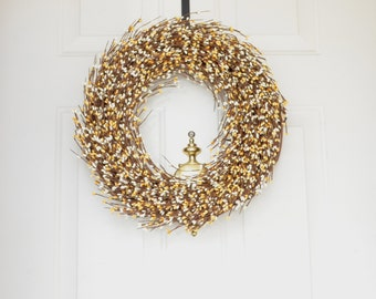 Spring wreath Berry wreath Yellow Cream Berry Wreath Front door wreath  year round wreath grapevine wreath Fall wreath