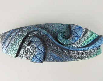 Polymer Clay Barrette. Beautiful OOAK Barrette for Women and Girls. This Steampunk Barrette is an Elegant Barrette for Hair.