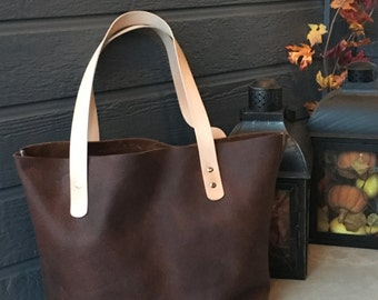 Full grain oil tanned leather tote . Brown leather hand bag . hand stitched purse . handbag . key leash . riveted straps . shopper tote