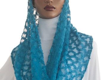 Kaatnu Veil™  Teal Mesh Lace New Style Catholic Veil Christian Veil Prayer Veil Worship Veil Modest Headcovering Chapel Scarf