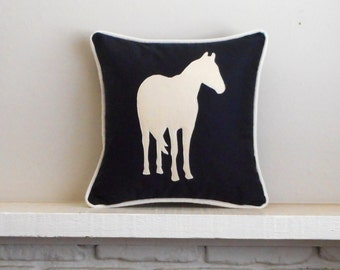 Horse Pillow, Cover or add INSERT , Custom Equestrian home decor, Pony or horse lover Christmas gift, Pillowcase