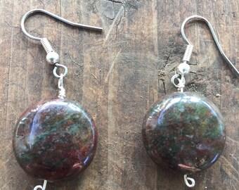 Dark Moss Agate Drop Earrings