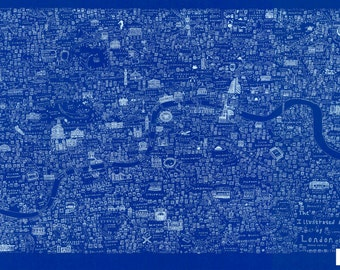 Limited edition screen printed illustrated map of London