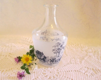 Vintage French Glass Carafe Bottle with Blue Printed Countryside Scenes, French Blue Frosted Toille Print Bottle Vase