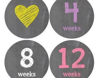 Pregnancy Stickers, Maternity Stickers, Baby Bump, Belly Stickers, Chalkboard (A)