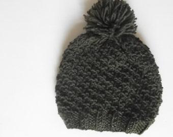 Knit hat pompom hat toddler hat boys knit hat girls knit hat slouchy beanie knit slouchy beanie knit hat FREE SHIPPING