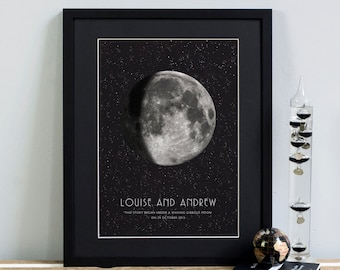 Personalised Gift MOON PHASE PRINT. New Mother Mothers Day New Baby Special Date Wedding Anniversary Mum Gift Astronomy Stars Space Wall Art