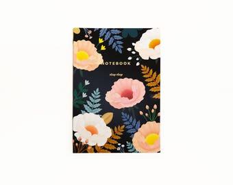 Oriental Poppy Notebook - Black
