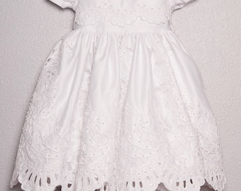 Baby Girl Baptism or Confirmation Dress, regular length with cut-out detail